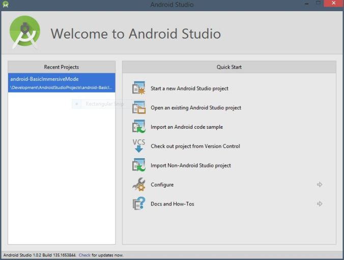 AndroidStudio_WelcomeScreen